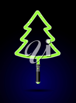 Light sword in form of Christmas tree. Brilliant green tree laser. Decoration for Christmas and new years from future. Accessory for celebration from Star war against backdrop of space.