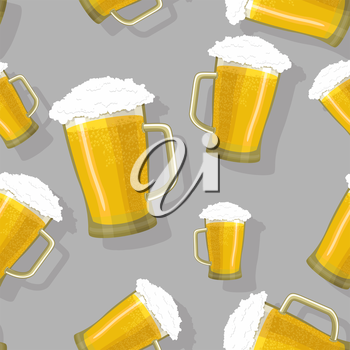 seamless pattern of glass tankards of frothy beer