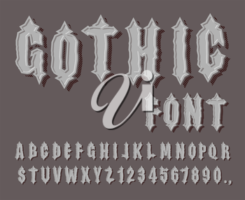Gothic font. Medieval letter and digit. Awesome Alphabet. Font for Knights and Kings. ABCs of romanticism