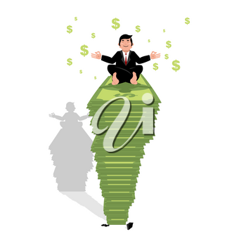 Businessman meditating on dollar. Financial yoga. Man sits on pack of money in lotus position. Enlightenment and meditation. Achieving wealth. Many cash