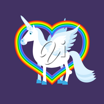 Blue unicorn rainbow heart. Rainbow LGBT sign. Fantastic animal with wings. Fabulous beast and love