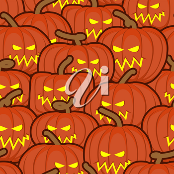 Halloween background. Pumpkin seamless pattern. Scary vegetable texture. Terrible holiday ornament