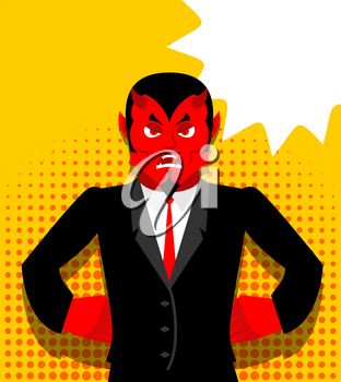 Angry devil. Satan is not happy. Angry red Demon. Lucifer is furious. Lord of Hell in pop art style. Bubble for text