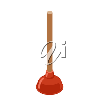 Toilet Plunger isometrics. Rubber plunger red cup on white background. Accessories for bathroom. Device for cleaning water flow in sinks, baths