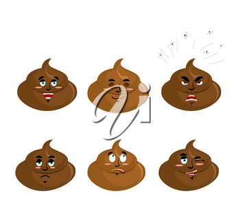 Set shit emotion. Cheerful and angry turd. Surprise and sadness cal. Sleepy excrement. Collection of emoticons faeces. Stool on white background