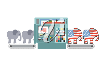 Factory Republican America. Republican Elephant. Republicans production. Political automated line for industry. Production of elephants for USA political party. Machine for production of electorate
