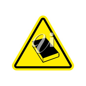 Book Warning sign yellow. Reading Hazard attention symbol. Danger road sign triangle psalterium