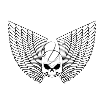 Skull with wings emblem. Flying skeleton head logo