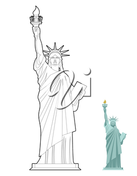 Statue of Liberty coloring book. Symbol of freedom and democracy in USA. Monument of architecture in linear style. Sculpture in New York, America