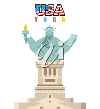Statue of Liberty yoga. National symbol of America in lotus position. USA Yoga. Symbol of freedom and democracy. Monument of architecture in New York. Woman yogi