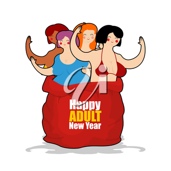 Prostitute in red sack of Santa Claus. Happy Adult New Year. Whore for present. Congratulations for men. Woman on holiday for fun