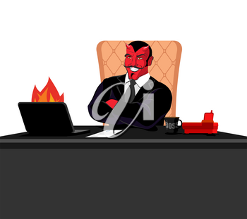 Satan boss sitting in office. Devil of workplace. Red demon at work. leader at job table. Laptop and phone. Cup of coffee. Director of hell. Chair of human skin. Diablo service businessman
