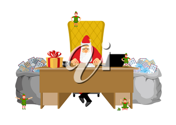 Santa Claus job. Letters from children. Big sack of mail envelopes. Santas Office In Lapland. Christmas elf helpers. Treatment of childrens correspondence. Fabulous Residence. Work Table Boss. New Yea
