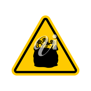 Warning sign attention Christmas gift. Santas sack with triangle. Dangers yellow sign. Attention New Year gifts and greetings