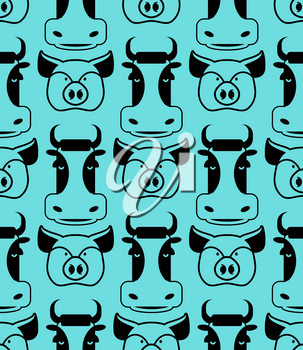 Cow and pig seamless pattern. head of boar and bull ornament. Pork and beef texture. Cute farm animals. Retro background for childrens fabric