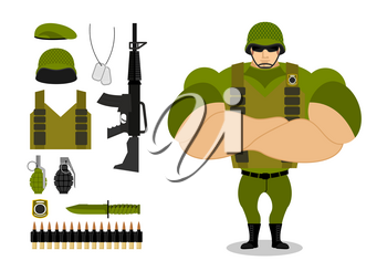 Soldiers and weapons. Set of military ammunition for war. Army collection. Armed forces. Big strong troops. Vest and rifle. Grenade and machine-gun belts. Knife and green beret