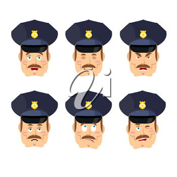 Emotions policeman icon. Set expressions avatar cop. Good and evil. Discouraged and cheerful. Face constable police