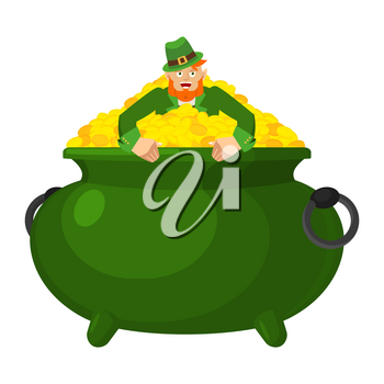 Leprechaun in pot gold. Dwarf with red beard and bowler golded coins. Legendary treasures for lucky. St.Patrick 's Day. Holiday in Ireland