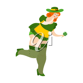 Leprechaun girl with red hair Find clover. Beautiful woman in green hat and Shamrock. St.Patrick 's Day. Holiday in Ireland
