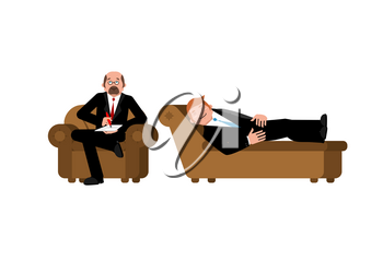 Businessman with psychologist. Consultation of psychotherapist. patient on psychologists couch