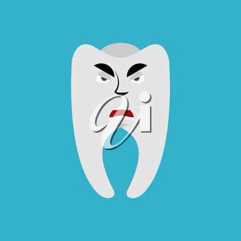 Tooth Angry Emoji. Teeth grumpy emotion isolated
