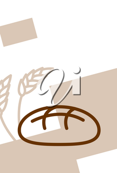 Bakery template design blank, poster. Bread and wheat ears