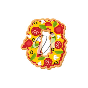 Number 0 pizza font. Italian meal alphabet numeral zero. Lettring fast food