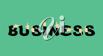 Business lettering. Letters and hands of businessmen. It shows finger
