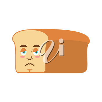 Bread sad Emoji. piece of bread sorrowful emotion isolated