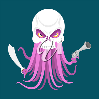 Octopus and skull. poulpe and head of skeleton. Vector illustration
