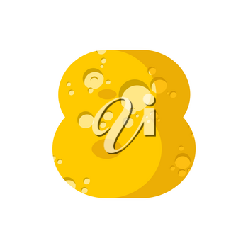 Figure 8 cheese font. numeral eight  of cheesy alphabet. Dairy Food type sign. Vector illustration