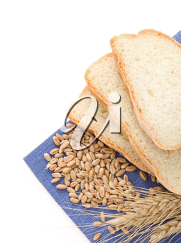 sliced bread and napkin isolated on white background