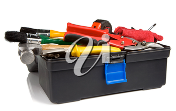kit of tools and instruments in black box