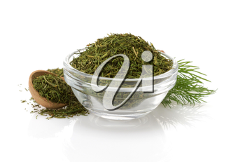 dried  dill in bowl isolated on white background