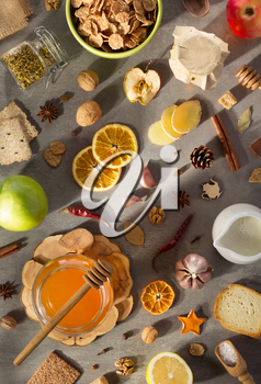 healthy food on stone table background