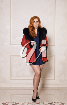 Advertising stylish and beautiful models of winter womens clothing.