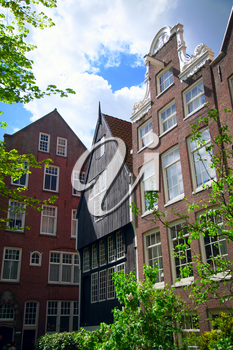 World famous historic Begijnhof is one of the oldest inner courts in the city of Amsterdam.  Netherlands.