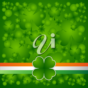 Clover leaf on flag element background for happy St. Patricks Day