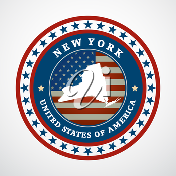 Label with map of New York, vector