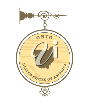 Vintage label with map of Ohio, vector