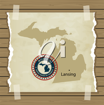Michigan map with stamp vintage vector background