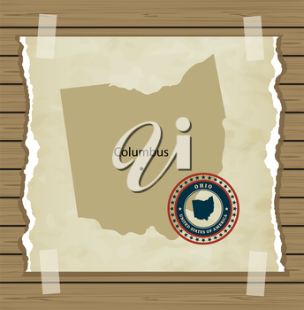 Ohio map with stamp vintage vector background