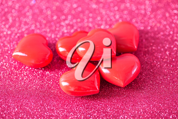 background for valentinas day, red hearts on paper
