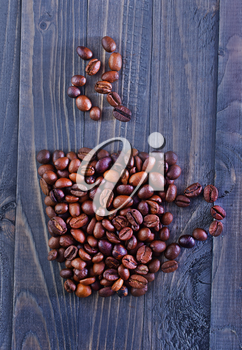 aroma coffee beans on the wooden table