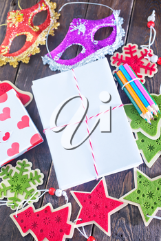 envelopes and christmas decoration on the wooden table