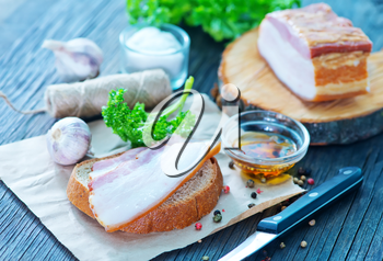 smoked lard with bread with aroma spice