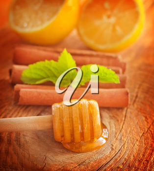 Honey with fresh mint and cinnamon on wooden board