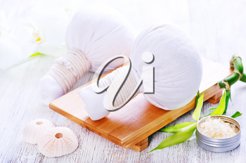 ingredients for massage on white table