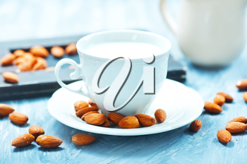 almond milk in cup and on a table