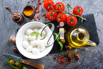 fresh ingredients for caprese salad on a table